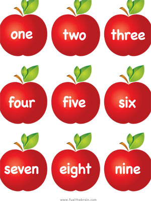 Apple Pairs - Number Words - Printable