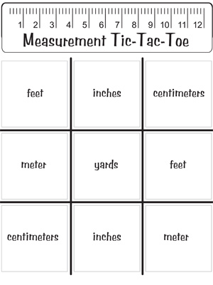 Measurement Tic-Tac-Toe - Printable