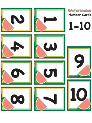 Watermelon Number Cards 1-10 - Preview 1