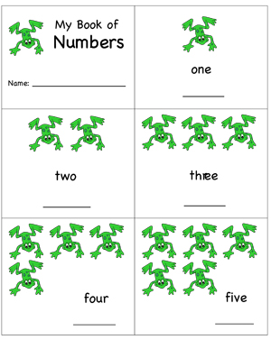My Book of Numbers - Frogs - Printable