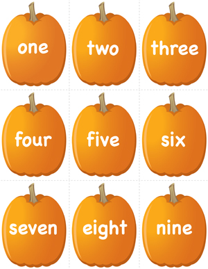 Pumpkin Concentration - Number Words - Printable
