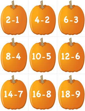 Pumpkin Concentration - Doubles Subtraction - Preview 1