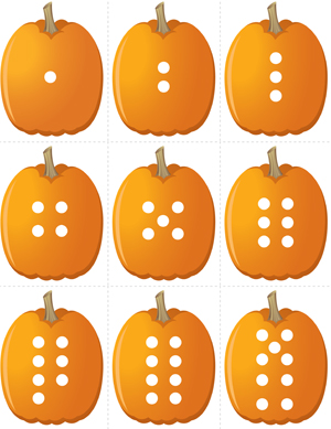 Pumpkin Concentration - Number Dots - Printable