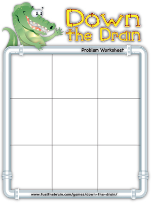 Down the Drain Problem Worksheet - 9 sections - Printable